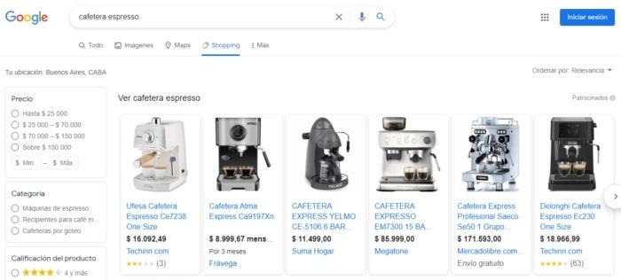 precios de productos en Shopping
